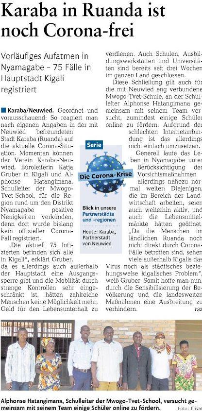 Rhein-Zeitung: Karaba ist coronavirusfrei